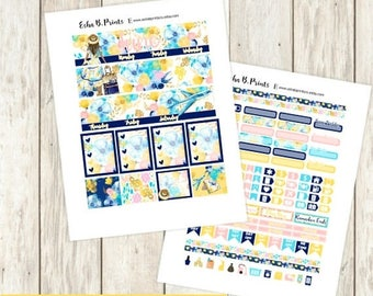 Adventure Awaits DARK Printable Planner Stickers/Monthly Kit/For Use with Erin Condren/Cutfiles June Summer Glam Vacation Travel