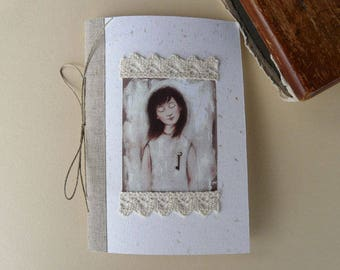 Small notebook with illustration, linen