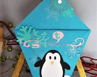 Christmas, handmade, gift card holder, penguin, snowflakes, blue, white, pink, him, her, for her, for him, holiday, origami