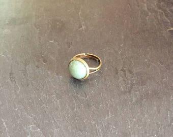 Bronze Adjustable ring with aventurine stone.