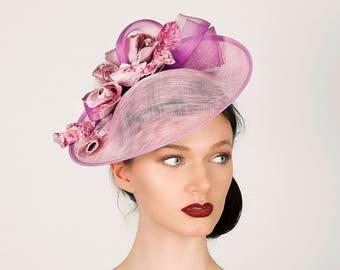 Medium pink disc hat for weddings, race days & garden parties. Couture millinery, hats, headpieces, hatinators, fascinators - 'Rose Cascade'