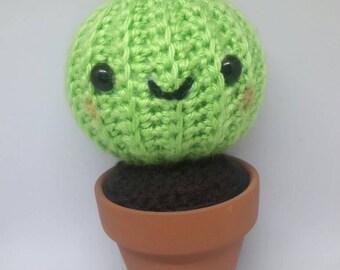 Crochet cactus amigurumi home decor, pin cushion succulent