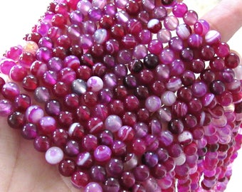 6mm banded agate, pink purple banded agate, line agate, agate beads, full strand, banded agate, bracelet beads, jewelry supplies, pink bead