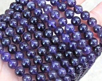 Amethyst beads, purple Amethyst, full strand, natural Amethyst 8mm, purple amethyst, 8mm round beads, jewelry supplies, mala beads, US