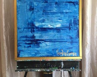 20x20 Abstract Art, Blue Abstract Painting