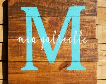 Name Initial Plank Sign, Pallet Wood Sign, Stained Rustic Farmhouse Decor Monogram, Nursery, Girls Room,Boys Room,  Personalized Decor, Baby