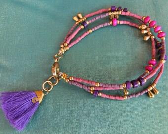 Fringe bracelet. Gypsy bracelet. Boho chic bracelet. Boho chic jewelry. Natural stones and glass beads bracelet. Boho chic bracelet.