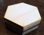 "10 Wood Blank Hexagon Tiles for Settlers of Catan - Unfinished Birch or Cherry 1/8"" or 1/4"""