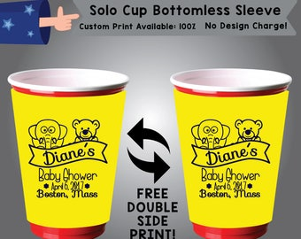 Baby Shower Name Date Place Solo Cup Bottomless Sleeve Cooler Double Side Print (SSOLO-BS1)
