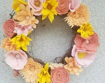 "Summer wreath/ 14"" wreath/felt flower wreath/ bright color wreath"