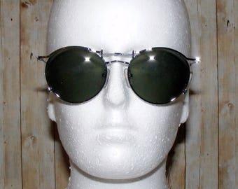 Vintage 80s deadstock silver metal round lennon sunglasses green lense (SG38)