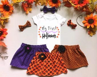My First Halloween Outfit, Baby Halloween Clothing, Baby Girls' Clothing Sets, Halloween Skirt Bodysuit and Headband, Purple Orange Black