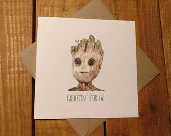 Groot/ Guardians of the Galaxy inspired good luck card  watercolour design greetings card