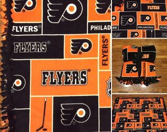 LARGE FLYERS NHL Handmade Fleece Tie Blanket | 55x65 | Philadelphia Flyers Hockey Fan Blanket | Flyers Bedding | Flyers Home Decor