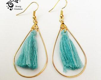 Turquoise Large hoop earring