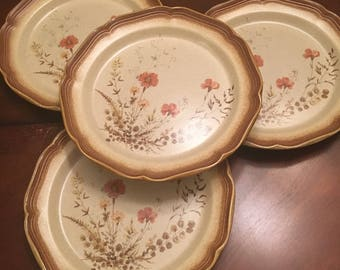 Mikasa Whole Wheat Jardiniere Dinner Plates (Set of 4) Stoneware Peach Flowers