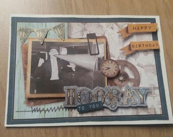 Card - birthday card - vintage black & white photo - clock