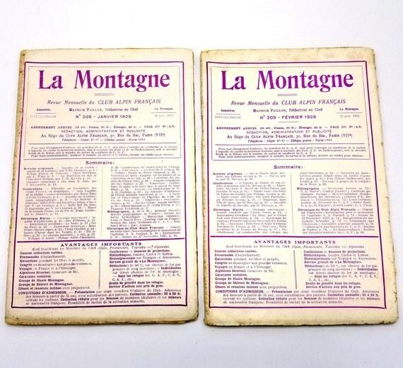 La Montagne Revue Mensuelle du Club Alpin Francais Volume XXIV 1928 (Numbers 208 - 215) Lot of 8 Issues