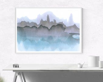 Blue & Grey Abstract Watercolor Printable Digital Download Art, Wall Art, Home Decor, Blue Art, Minimalist Contemporary Art