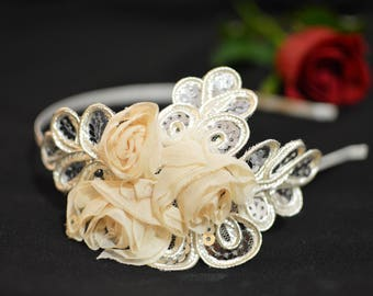 Beige Flower Satin Headband / Bridal Rosette Hairpiece / Bridesmaid Gift for her / Floral Silver Headband
