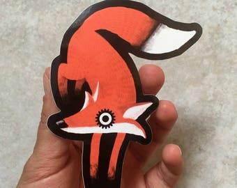 Clockfox Orange Sticker Urbanart Fox by Alexander Fechner