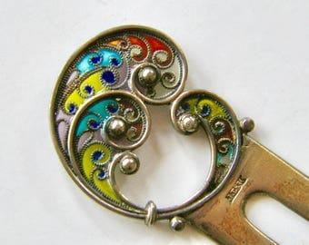 Jacob Tostrup Norway Marked Antique Silver Hair Pin Art Nouveau Paisley Motif Multi Color Plique à Jour