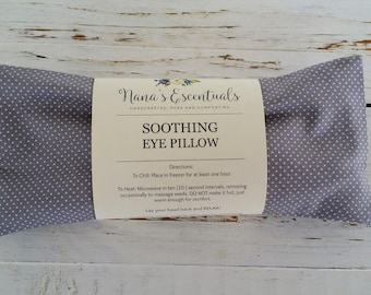 Grey with dots Lavender Peppermint Flax Seed Cotton Cover - Bridesmaid Relaxation - Aromatherapy - Essential Oil - Hot or Cold Eye Pillow