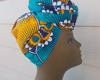 Teal & Yellow Head wrap;African Headwrap; African Clothing; African Fabric Headwrap; African Scarf; Fabric Headwrap: Headwrap; Head tie