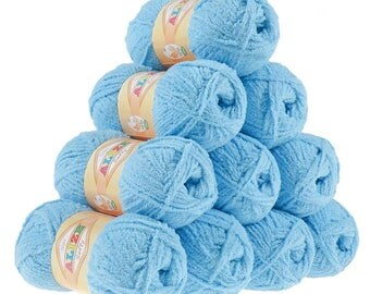 10 x 50 g soft yarn fluffy wool SOFTY by ALIZE blue No. 40