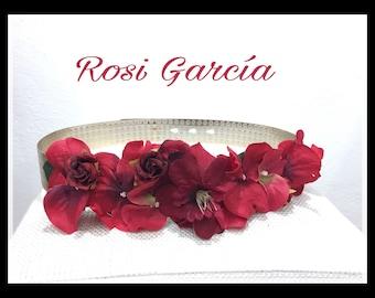 Belt red flowers