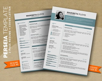 Professional Resume Template Word / CV Template, Creative Word Resume Design + Cover Letter, Modern Curriculum Vitae, Instant Download