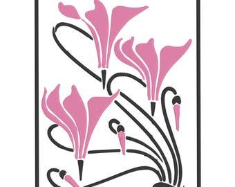 Art Nouveau Cyclamen - machine embroidery