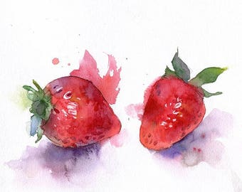 Watercolor strawberry illustration