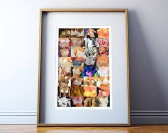 "Retro Brassier Bra Collage Art Print ""Breast In Show"" Vintage Digital Art Print - Digtal Download"