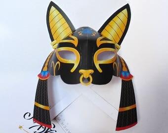 Egyptian cat mask PRINTABLE. Cat mask. Bast mask. Goddess mask. Egyptian goddess mask. Mask. Masquerade mask. Black cat mask. Egyptian mask