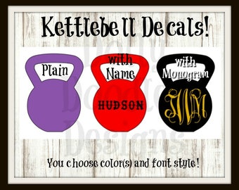 Kettlebell Decal - Monogrammed Fitness Decal - Personalized Vinyl Decal - Workout - Customized Decal