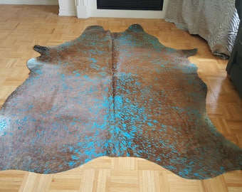 Metallic Cowhide Rug Brazilian Brown Chrome Kuhfell 84 by 72 inch 1196