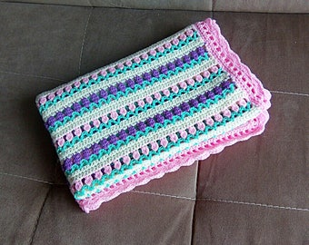 """Hand Knitted Baby Blanket """"Flowers"""" Knit Baby blanket Baby girl blanket Crochet baby blanket Crib blanket Pink crib blanket Hand knit baby"""