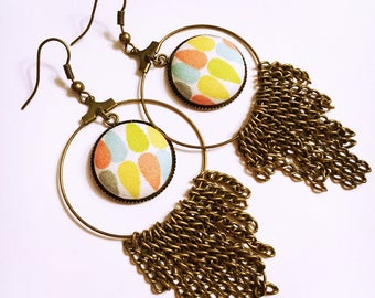 Geometric fabric button dangle earrings