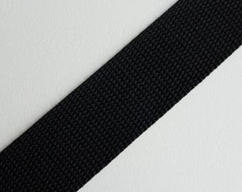"Black Polypropylene Webbing 32mm (1 1/4"") wide x 1 meter"