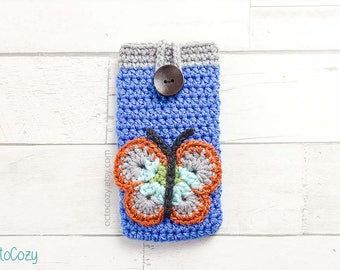 Mobile Phone Case, Cool iPhone Cover, Handmade Crochet Custom Phone Case with Butterfly Pocket for Earphones, Vegan Pouch