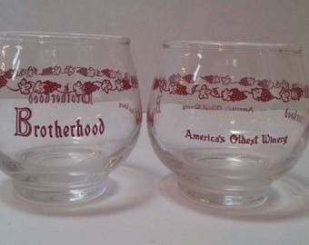 1950s Brotherhood Winery Wine Glasses America's Oldest Winery (set of 2)