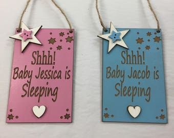 Shhh Baby Sleeping Personalised Front Door Baby Sign / Plaque Blue or Pink