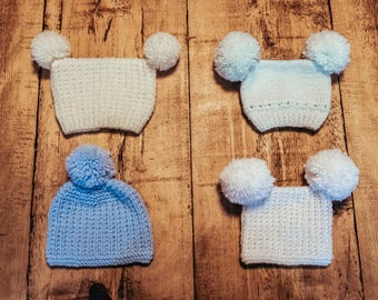 Hand knitted hats for newborns, babies and toddlers