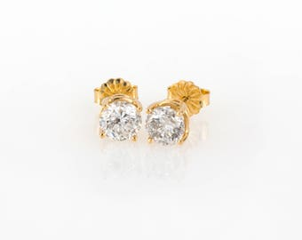 14K Yellow Gold 1.50 CTW Natural Brilliant Round Cut Diamond Stud Earrings