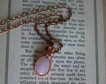 Mini Rose Quartz wire wrapped pendant necklace with copper chain