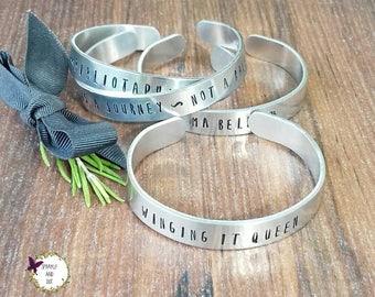 Personalised Cuff Bracelet, Customised Bracelet, Hand Stamped Cuff Bracelet, Medical Identity Bracelet, Custom Design Jewellery,