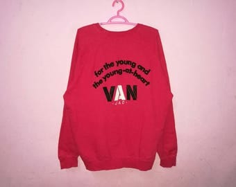 Rare!! Van Jac For The Young And The Young At Heart Big Spellout Embroidery Pullover Jumper Sweatshirt Size L