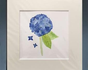 """Blue hydrangea, watercolor, 6"""" x 6"""" (15.25cm x 15.25cm), watercolor painting, original art, blue flower"""
