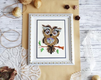 Owl art Owl wall decor Owl design Original owl artwork Quilling owl Owl panel